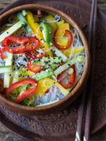 Nudel mit Asia-Style-Erdmandelsoße (vegan und besonders gut)